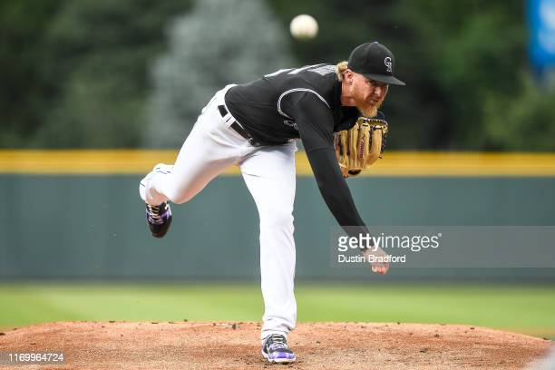 Jon Gray of the Colorado Rockies pitches against the Miami Marlins in the first inning of a game at Coors Field on August 16, 2019 in Denver,...
