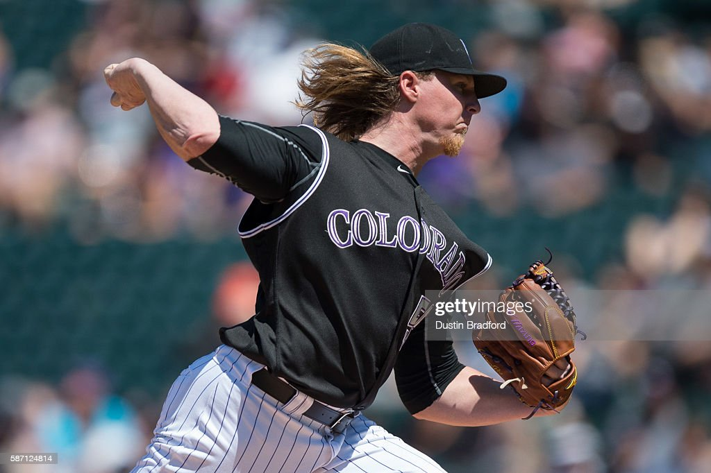 Jon Gray #55 of the Colorado Rockies pitches against the Miami Marlins in the first inning of a game at Coors Field on August 7, 2016 in Denver, Colorado.