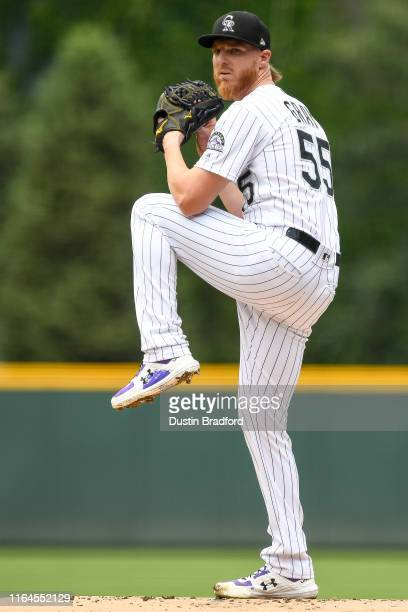 Jon Gray of the Colorado Rockies pitches against the San Francisco Giants in the first inning of a game at Coors Field on July 17, 2019 in Denver,...