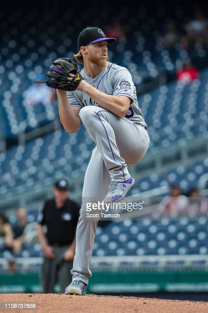 Jon Gray of the Colorado Rockies pitches against the Washington Nationals during the second inning of game one of a doubleheader at Nationals Park on...