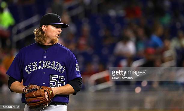 Jon Gray of the Colorado Rockies pitches during a game against the Miami Marlins at Marlins Park on June 17 2016 in Miami Florida