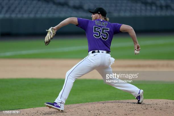 Jon Gray of the Colorado Rockies pitches during summer workouts at Coors Field on July 09, 2020 in Denver, Colorado.