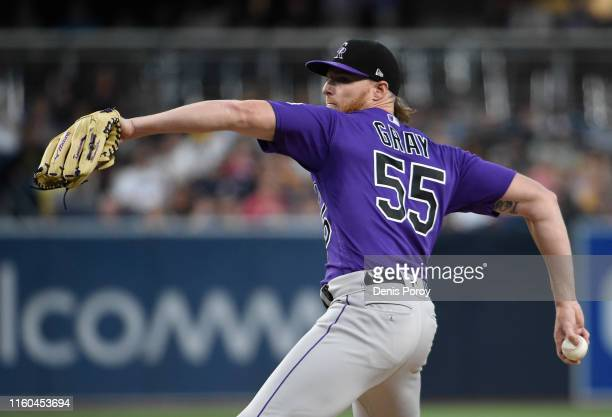 Jon Gray of the Colorado Rockies pitches during the first inning of a baseball game against the San Diego Padres at Petco Park August 8, 2019 in San...