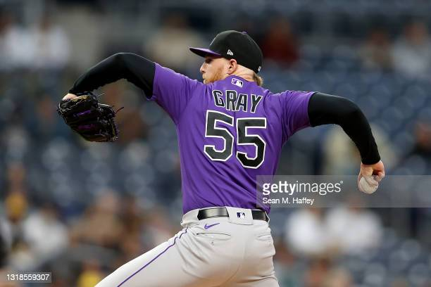 Jon Gray of the Colorado Rockies pitches during the first inning of a game against the San Diego Padres at PETCO Park on May 17, 2021 in San Diego,...