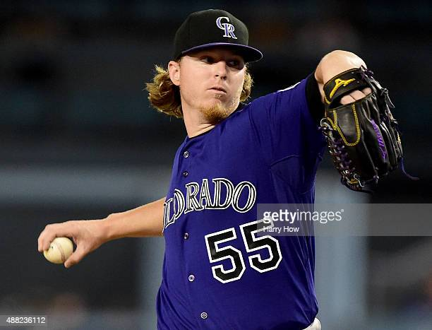 Jon Gray of the Colorado Rockies pitches during the first inning against the Los Angeles Dodgers at Dodger Stadium on September 14 2015 in Los...