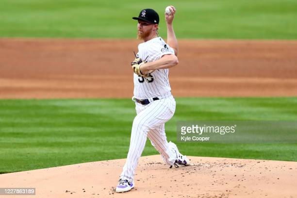 Jon Gray of the Colorado Rockies pitches during the game between the San Diego Padres and the Colorado Rockies at Coors Field on Friday, July 31,...