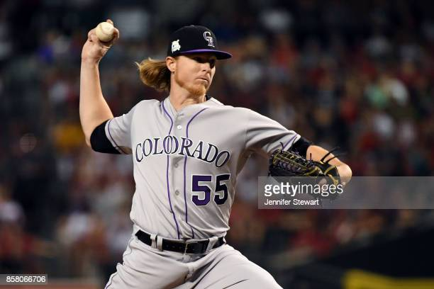 Jon Gray of the Colorado Rockies pitches during the National League Wild Card game against the Arizona Diamondbacks at Chase Field on Wednesday,...