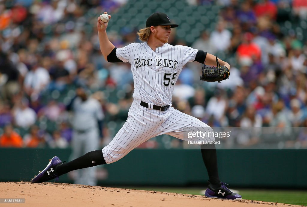 Jon Gray #55 of the Colorado Rockies pitches during the second inning of a regular season MLB game between the Colorado Rockies and the visiting San Diego Padres at Coors Field on September 17, 2017 in Denver, Colorado.