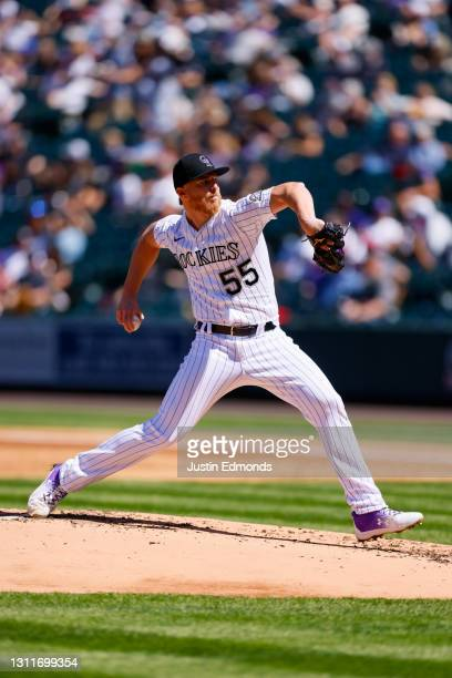 Jon Gray of the Colorado Rockies pitches during the second inning against the Arizona Diamondbacks at Coors Field on April 8, 2021 in Denver,...