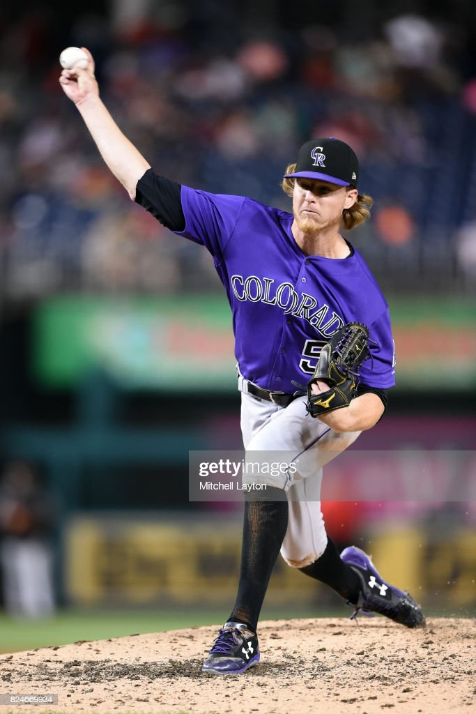 Jon Gray #55 of the Colorado Rockies pitches in the fifth inning during game two of a doubleheader against the Washington Nationals at Nationals Park on July 30, 2017 in Washington, DC.