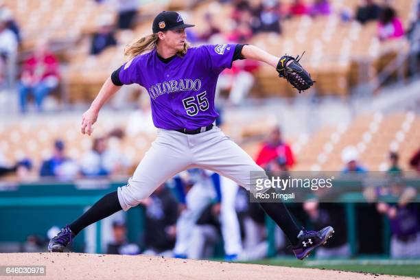 Jon Gray of the Colorado Rockies pitches in the first inning during a spring training game against the Los Angeles Dodgers at Camelback Ranch on...