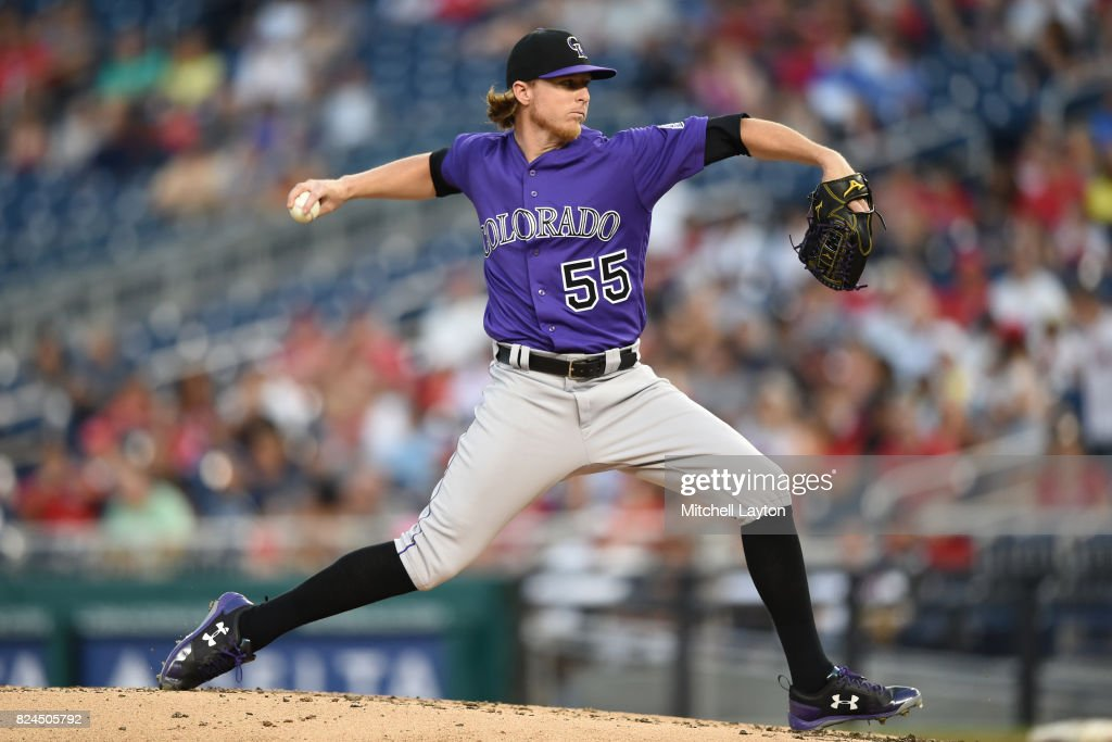 Jon Gray #55 of the Colorado Rockies pitches in the second inning during game two of a doubleheader of a baseball game against the Washington Nationals at Nationals Park on July 30, 2017 in Washington, DC.