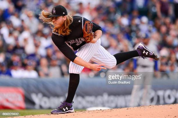 Jon Gray of the Colorado Rockies pitches in the second inning of a game against the Los Angeles Dodgers at Coors Field on April 8, 2017 in Denver,...