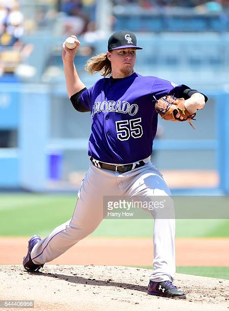 Jon Gray of the Colorado Rockies pitches to the Los Angeles Dodgers during the first inning at Dodger Stadium on July 3 2016 in Los Angeles California