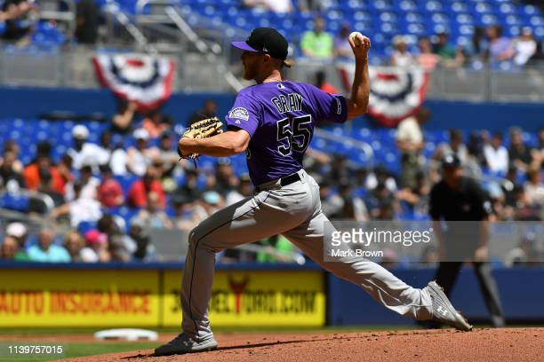 Jon Gray of the Colorado Rockies pitching against the Miami Marlins at Marlins Park on March 31, 2019 in Miami, Florida.