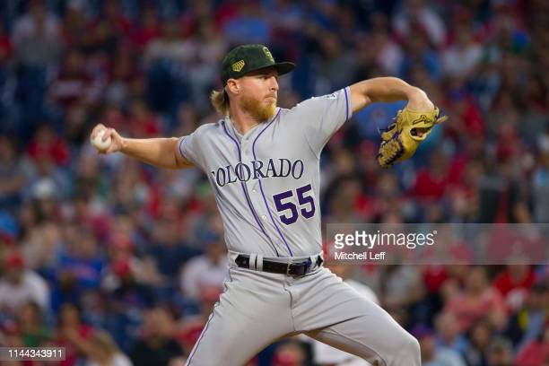Jon Gray of the Colorado Rockies throws a pitch in the bottom of the first inning against the Philadelphia Phillies at Citizens Bank Park on May 17,...
