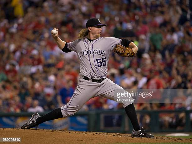 Jon Gray of the Colorado Rockies throws a pitch in the bottom of the second inning against the Philadelphia Phillies at Citizens Bank Park on August...