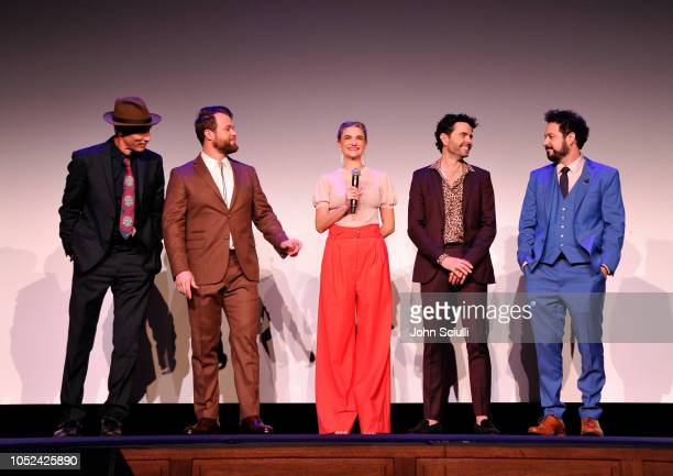 Jon Gries Daniel Stessen Megan Ferguson Nicholas Rutherford and Ahmed Bharoocha attends Adult Swim's DREAM CORP LLC Season 2 Premiere at Ace Hotel on...
