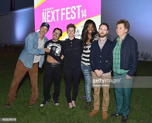 Jon Gries Efren Ramirez Jerusha Hess Shondrella Avery Aaron Ruell and Sandy Martin attend the Sundance NEXT FEST screening of 'Napoleon Dynamite' at...