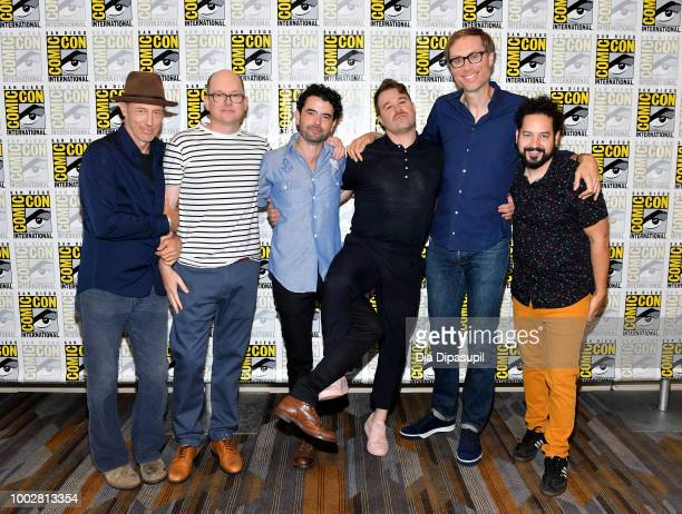 Jon Gries Mark Proksch Nicholas Rutherford Daniel Stessen Stephen Merchant and Ahmed Bharoocha attend Adult Swim's 'Dream Corp LLC' Press Line during...