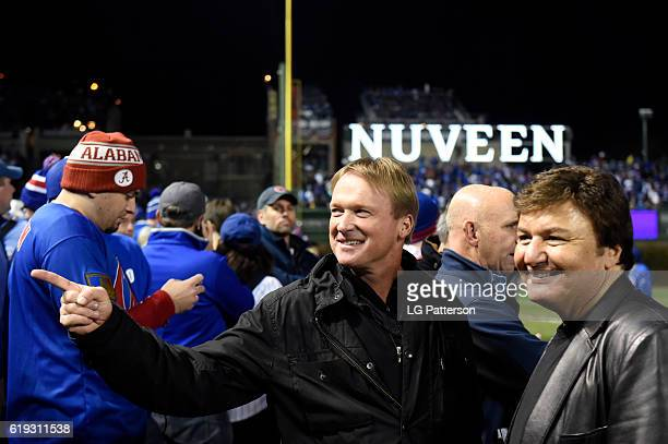 Jon Gruden looks on during batting practice prior to Game 5 of the 2016 World Series between the Cleveland Indians and the Chicago Cubs at Wrigley...