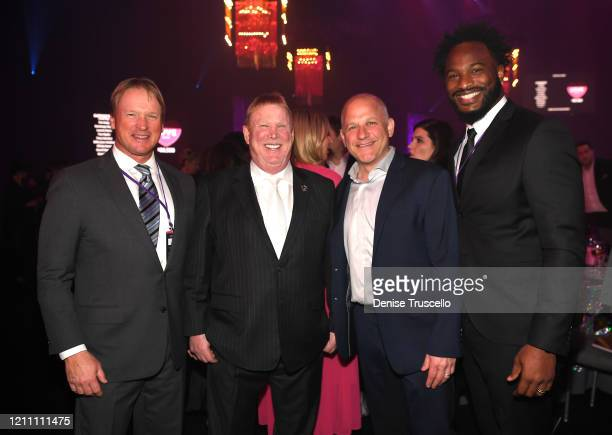 Jon Gruden Mark Davis Marc Badain and Marcel Reece attend the 24th annual Keep Memory Alive 'Power of Love Gala' benefit for the Cleveland Clinic Lou...