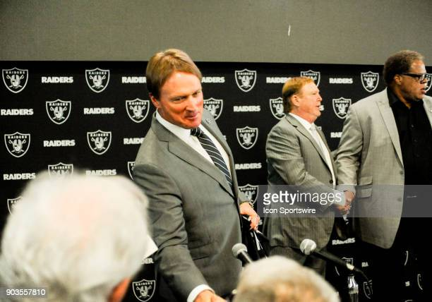 Jon Gruden shakes hands with a few people he knows after the Jon Gruden Press Conference on January 9 2017 at Raiders Headquarters in Alameda CA