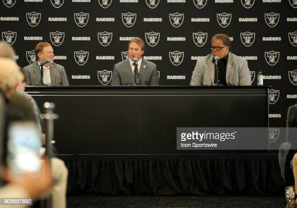 Jon Gruden speaks with Media members during the Jon Gruden Press Conference on January 9 2017 at Raiders Headquarters in Alameda CA