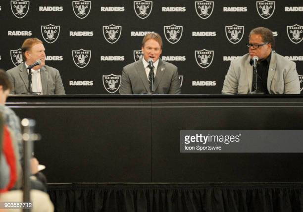 Jon Gruden talks business with the media during the Jon Gruden Press Conference on January 9 2017 at Raiders Headquarters in Alameda CA
