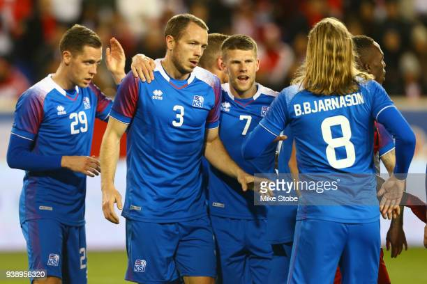 Jon Gudni Fjoluson of Iceland celebrates his first half goal against Peru during a International Friendly at Red Bull Arena on March 27 2018 in...