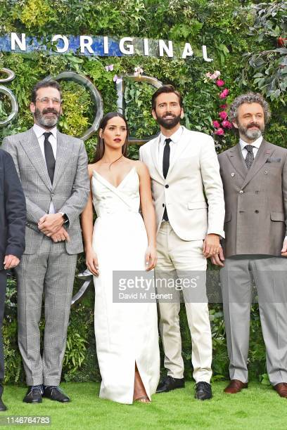 Jon Hamm Adria Arjona David Tennant and Michael Sheen attend the World Premiere of new Amazon Original Good Omens at the Odeon Luxe Leicester Square...