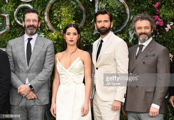 Jon Hamm Adria Arjona David Tennant and Michael Sheen attend the Global premiere of Amazon Original Good Omens at Odeon Luxe Leicester Square on May...