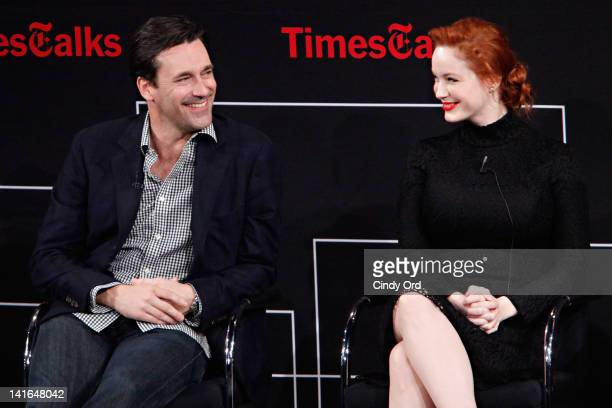 Jon Hamm and Christina Hendricks attends attends the TimesTalk A Conversation with the Cast of 'Mad Men' at The Times Center on March 20 2012 in New...