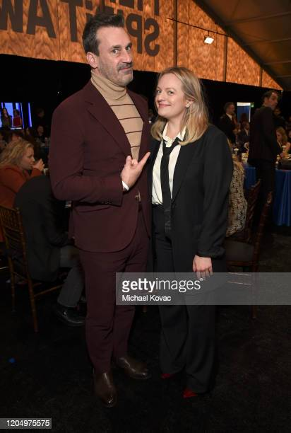 Jon Hamm and Elisabeth Moss attend the 2020 Film Independent Spirit Awards on February 08, 2020 in Santa Monica, California.