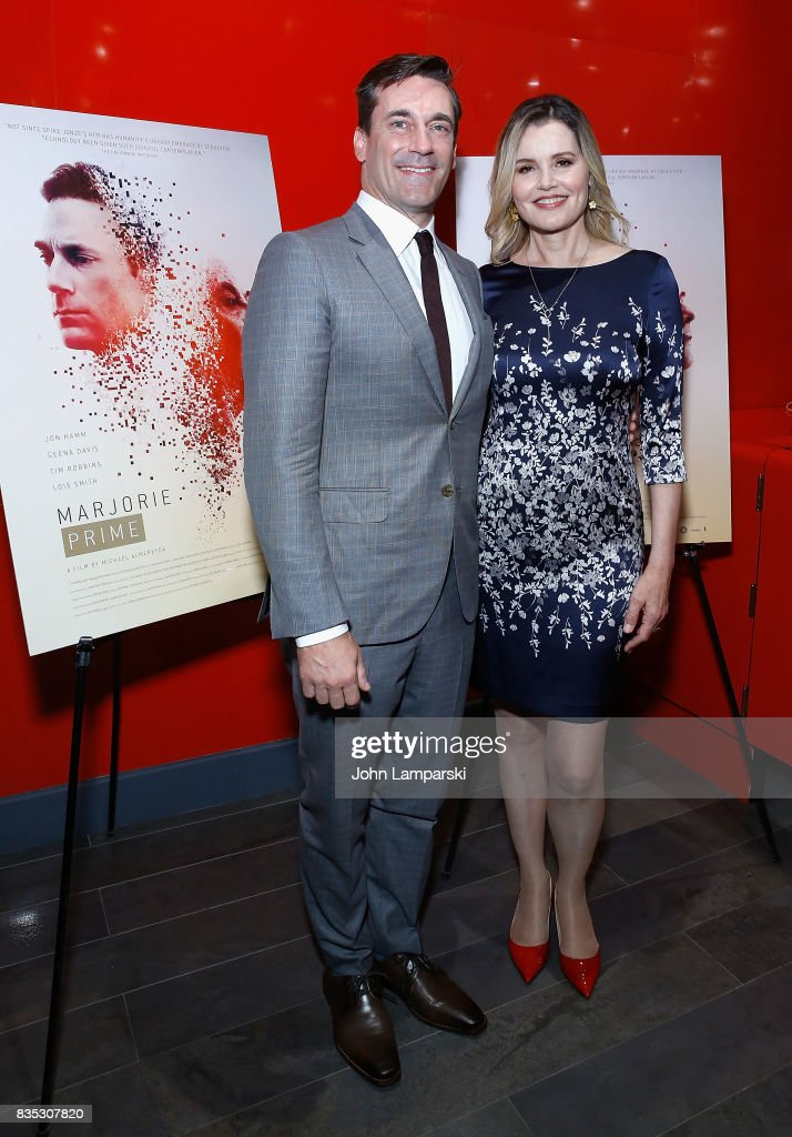 Jon Hamm and Geena Davis attends 'Marjorie Prime' New York premiere on August 18, 2017 in New York City.