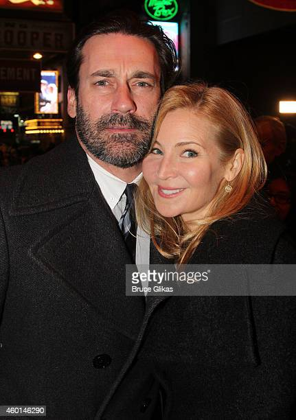 Jon Hamm and girlfriend Jennifer Westfeldt pose at the arrivals for The Opening Night of 'Elephant Man' on Broadway at The Booth Theater on December...