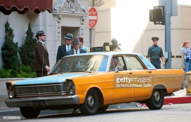 Jon Hamm and Harry Hamlin are seen on the set of Mad Men on January 14 2014 in Los Angeles California
