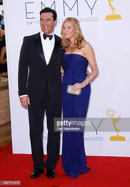 Jon Hamm and Jennifer Westfeldt arrives at the 64th Primetime Emmy Awards held at Nokia Theatre L.A. Live on September 23, 2012 in Los Angeles,...