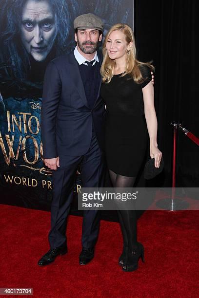 Jon Hamm and Jennifer Westfeldt attend 'Into The Woods' World Premiere Outside Arrivals at Ziegfeld Theater on December 8 2014 in New York City