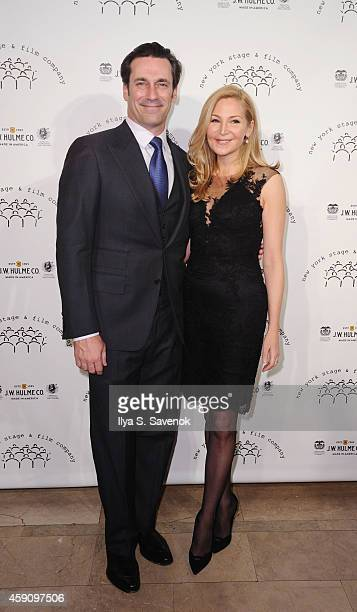 Jon Hamm and Jennifer Westfeldt attend the New York Stage and Film 2014 Winter Gala at The Plaza Hotel on November 16 2014 in New York City