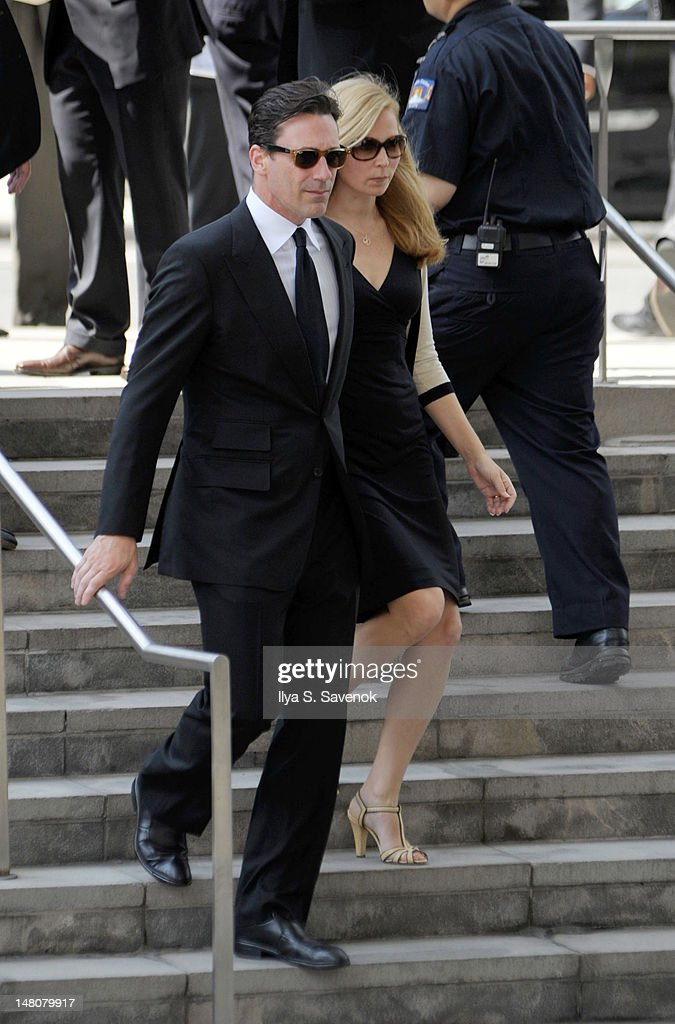 Jon Hamm and Jennifer Westfeldt attend the Nora Ephron Memorial Service on July 9, 2012 in New York City.