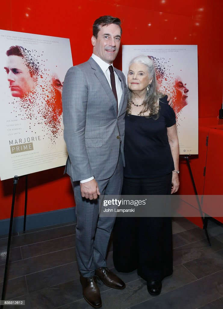 Jon Hamm and Lois Smith attend 'Marjorie Prime' New York premiere on August 18, 2017 in New York City.
