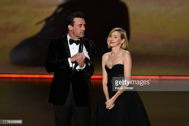 Jon Hamm and Naomi Watts speak onstage during the 71st Emmy Awards at Microsoft Theater on September 22 2019 in Los Angeles California