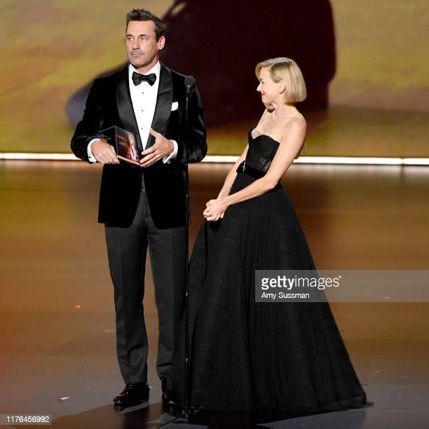 Jon Hamm and Naomi Watts speak onstage during the 71st Emmy Awards on September 22 2019 in Los Angeles California