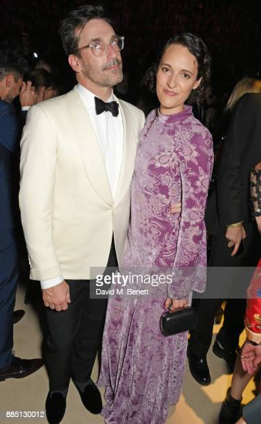 Jon Hamm and Phoebe WallerBridge attend the London Evening Standard Theatre Awards 2017 after party at the Theatre Royal Drury Lane on December 3...
