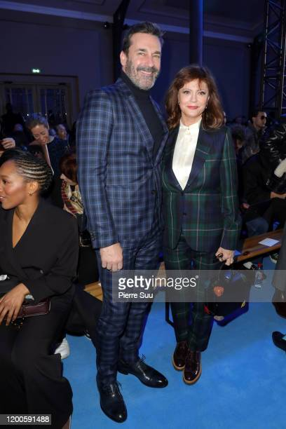 Jon Hamm and Susan Sarandon attend the Paul Smith Menswear Fall/Winter 2020-2021 show as part of Paris Fashion Week on January 19, 2020 in Paris,...