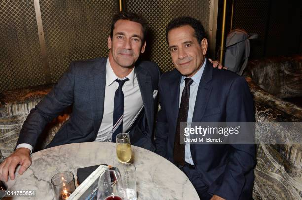Jon Hamm and Tony Shalhoub attend the Amazon Prime Video Europe Autumn Party at 100 Wardour Street on October 2 2018 in London England