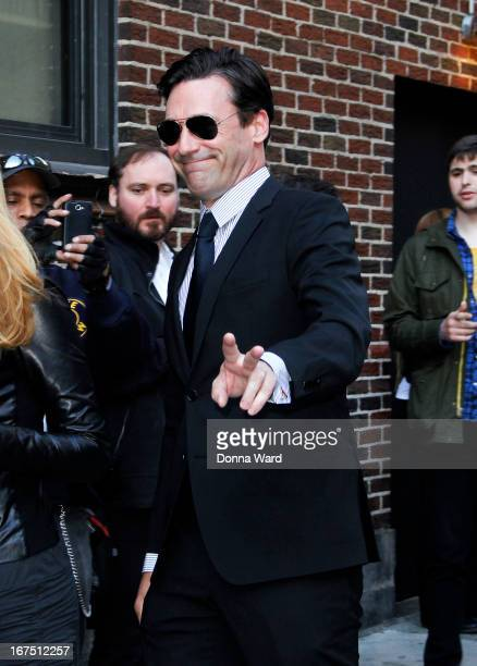 Jon Hamm arrives for 'The Late Show with David Letterman' at Ed Sullivan Theater on April 25 2013 in New York City