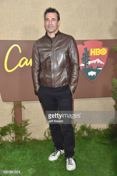 Jon Hamm attends HBO's Los Angeles premiere of Camping at Paramount Studios on October 10 2018 in Hollywood California