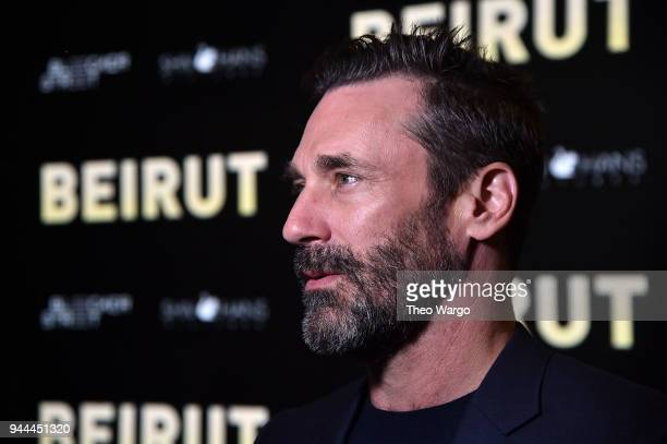 Jon Hamm attends the Beirut New York Screening at The Robin Williams Center on April 10 2018 in New York City